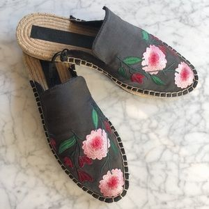NWT Zara Embroidered Jute Mules